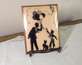 Vintage SILHOUETTE Convex Glass Framed Picture 8x6 Boy, Balloons, Dog, Man 1940s Nursery Decor