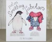 Dress up penguin paper doll birthday card - glam rock penguin illustration