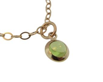 Birthstone Jewelry Cabochon Charm Custom 14K Bezel Set Necklace Personalized Hand Stamped Engraved Artisan Handmade Fine Designer Fashion