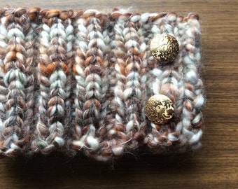 Handknitted neck warmer.Autumn tones yarn. Chunky warm yarn.Gold shiny buttons.
