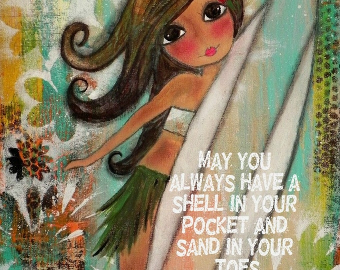 Featured listing image: Surfer Girl Hula ART   11x14 PRINT Size. LIMITED number