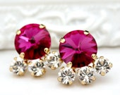 Fuchsia Swarovski Rivoli Crystals with Three Clear Crystals Set in Gold on Gold Stud Earrings