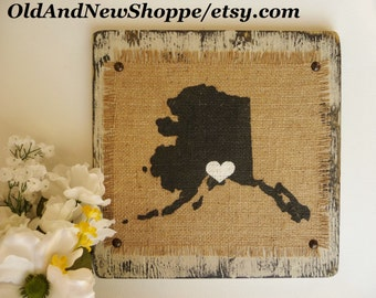 ALASKA, Burlap Painted Alaska State Sign Ready to Hang, Rustic Alaska BURLAP State Hanging Sign, Burlap Decor, Country Alaska Cottage Decor