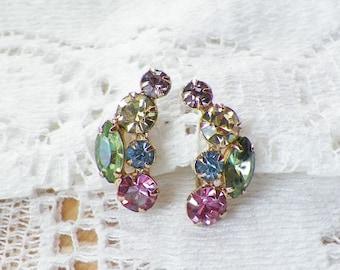 Vintage Pastel Rhinestone Earrings, Screw Back, Pastels, Colors, Colorful, Gold Tone Metal