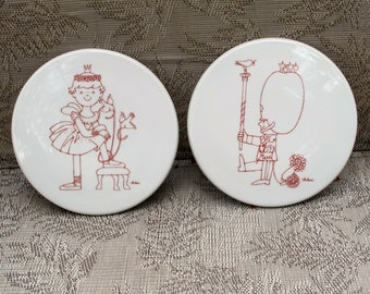 ANTONI B and G Wall Hanging Plates Trivets Freckle Face Children Ballerina Girl Birds and Soldier Boy Birds set of TWO 5.75 inch