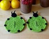 Crochet Green Ladybug Coasters (set of 2)