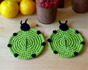 Animal Coasters - Rustic Hostess Gift - Crocheted Coasters - Ladybug Coasters - Housewarming Gift - Gift for Couple - Home Decor - Set of 2