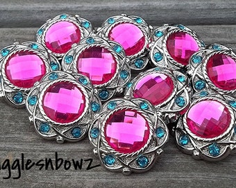 Clearance Sale- NEW Set of Ten LIMITED EDITION Vintage Style SHoCKiNG PiNK/ TuRQUoiSE Rhinestone Buttons 25mm
