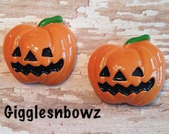 HaLLoWeeN Resins- Jack O Lantern Pumpkin Cabochons Flatbacks Scrapbooking Girl Hair Bow Center Crafts DIY