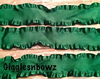 1.5 inch DOUBLE RUFFLE Satin Ribbon- EMERALD GReeN 5 YaRDS Great for Hair bows Scrapbooking Crafts