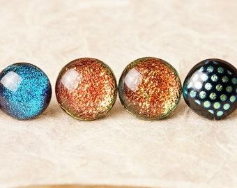 3 Pair Lot Handmade Dichroic Glass Earrings Studs Pairs ...FREE Shipping...