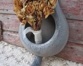 Vintage Enamelware gray graniteware bed pan rustic primitive