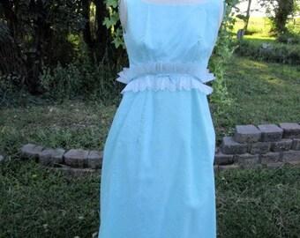 Vintage 50's/60's Long Formal Dress Blue/green lace sash Size s/m