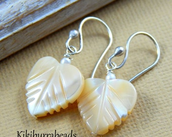 leaf earrings, Pearl Earrings,  Hand Carved Mother Of Pearl Leaf Earrings,  Sterling Silver