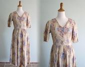 Vintage 1980s Dress - Pretty Laura Ashley Cotton Floral Dress - 80s Periwinkle Floral Dress M