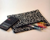 Black and White Floral Binder Pouch Pouches Pencil