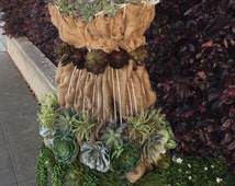 Tutorial for Faux Succulents & Burlap on a Wire Dress Form