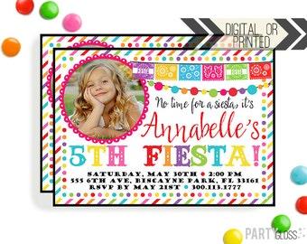 Fiesta Birthday Invitation   Digital or Printed    Fiesta Party Invitation   Fiesta Invitation    Papel Picado Invite   Fiesta Party Theme