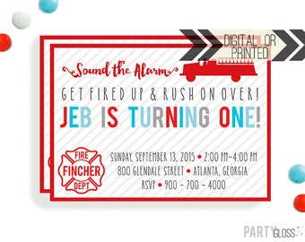 Firetruck Invitation | Digital or Printed | Firetruck Invitations | Firetruck Party | Firetruck Birthday Party | Fireman Invitation | Fire