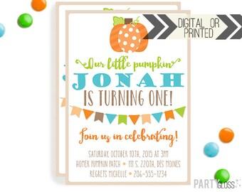Boy Pumpkin Invitation | Digital or Printed | Little Pumpkin Invite | Boy Pumpkin | Fall Boy Pumpkin Invitation | Fall Invitation | Boy