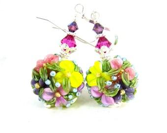 Pastel Floral Earrings, Yellow Pink Purple Blue Flower Earrings, Lampwork Earrings, Floral Jewelry, Nature Earrings, Glass Earrings