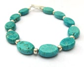 Turquoise Blue Magnesite and Silver Seed Bead, Beaded Summer Gemstone Bracelet