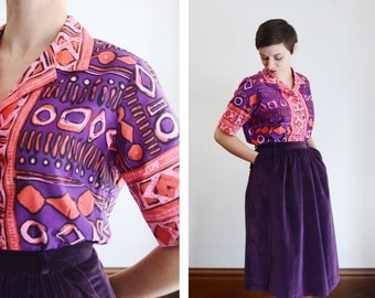 1960s Pink and Purple Printed Shirt - M