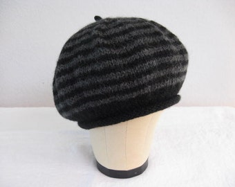 100 Percent Baby Alpaca Beret in Black and Charcoal Stripes. Accessories. Hand Knit Hat.