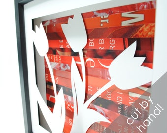tulips shadowbox- made from recycled magazines, flower, pretty, spring, nature, red