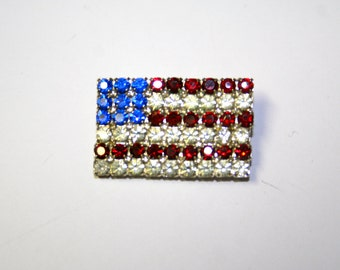 Vintage Rhinestone american flag for 4th of july or memorial day