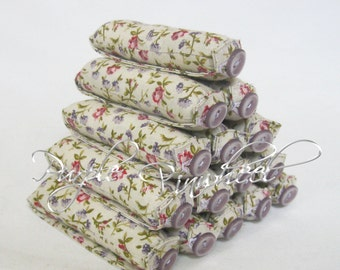 Lavender Print Fabric Hair Curlers size Small
