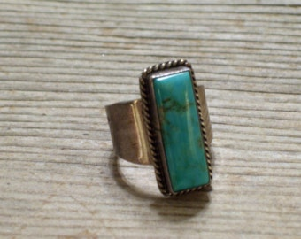 Turquoise Sterling Ring, Vintage Sterling Silver and Turquoise Ring,  Native American Jewelry, Southwestern Wide Band Ring Size 6