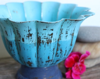 Vintage Beach Brass Fluted Bowl Hand Painted Ombre, Heavily Distressed Coastal Chic Home Decor