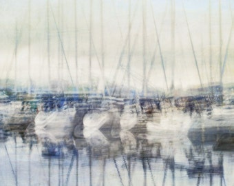"Abstract nautical art sailboat photography spring blue white surreal - ""Quayside"" 8 x 10"
