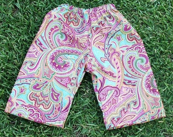 Hippie Kids pants -Size 1- Psychedelic Turquoise Pink -Boys or Girls- Read measurements
