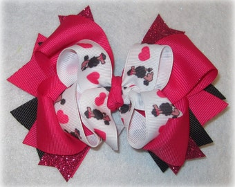 I Heart Poodle Boutique Hair Bow 3 Layers of Ribbon and Spikes Poodles Hairbow Pink Black Chic Paris
