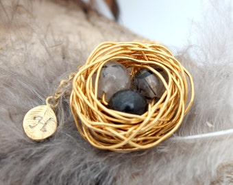 Personalized bird nest necklace with 3 tourmaline quartz eggs and initial charm- gold plated woven wire - April birthstone- crystal healing
