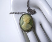 "Vintage Mint Cameo Necklace / Pin - Silver 18"" Adjustable Chain"