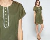 Mod Mini Dress 60s Shift Button Up Olive Green Cap Sleeve Sheath 1960s Day Plus Size Vintage Sixties Twiggy Gogo Sleeveless Extra Large xl