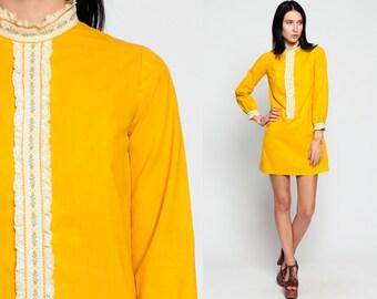 60s Mini Dress Mod LACE BIB Ruffle Twiggy Yellow 1960s Shift Boho Long Sleeve Tuxedo Vintage Party Lolita Minidress Bohemian extra Small xs
