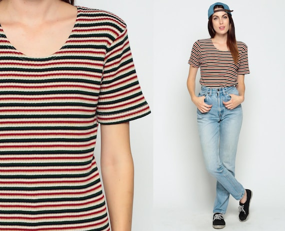 Striped shirt 90s t shirt grunge top ribbed knit red white for Best striped t shirt