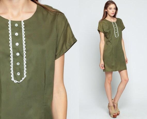 Mod Mini Dress 60s Shift Button Up Olive Green Cap Sleeve Xl
