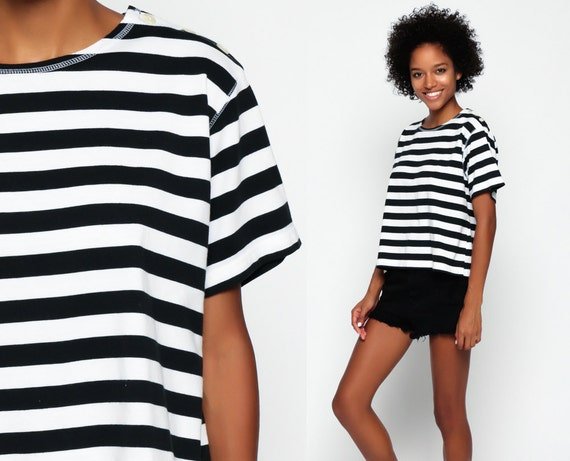 Striped tshirt 80s t shirt black white top 90s grunge by for Striped french sailor shirt