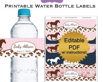 DIY editable printable water bottle labels PDF (No.61b) cowgirl baby shower favors girl Digital File instant download