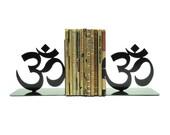 Yoga Om Symbol Metal Art Bookends - Free USA Shipping