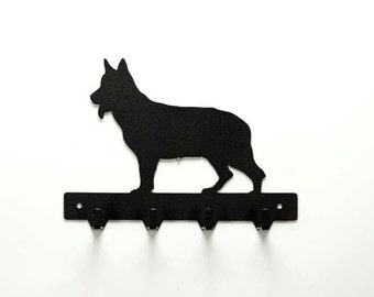 German Shepherd Metal Art Dog Leash or Key Rack - Free USA Shipping