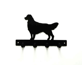 Golden Retriever Dog Metal Art Leash or Key Rack - Free USA Shipping