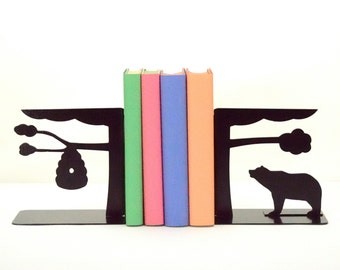 Beehive and Bear Metal Art Bookends - Free USA Shipping