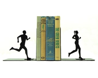 Running Couple Metal Art Bookends - Free USA Shipping