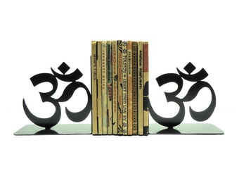Yoga Om Symbol Metal Art Bookends - Free USA Shipping